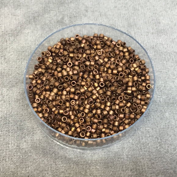 Size 11/0 Matte Metallic Bronze/Gold Iris Genuine Miyuki Delica Glass Seed Beads - Sold by 7.2 Gram Tubes (Approx. 1300 Beads/2