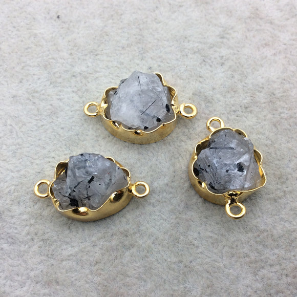 Gold Finish Large Raw Nugget Genuine Rutilated Quartz Wavy Bezel Connector - ~ 16mm - 20mm Long - Sold Individually, Selected Randomly