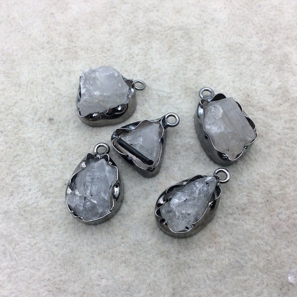Gunmetal Finish Medium Raw Nugget Genuine Rutilated Quartz Wavy Bezel Pendant  ~ 14mm - 17mm Long - Sold Individually, Selected Randomly
