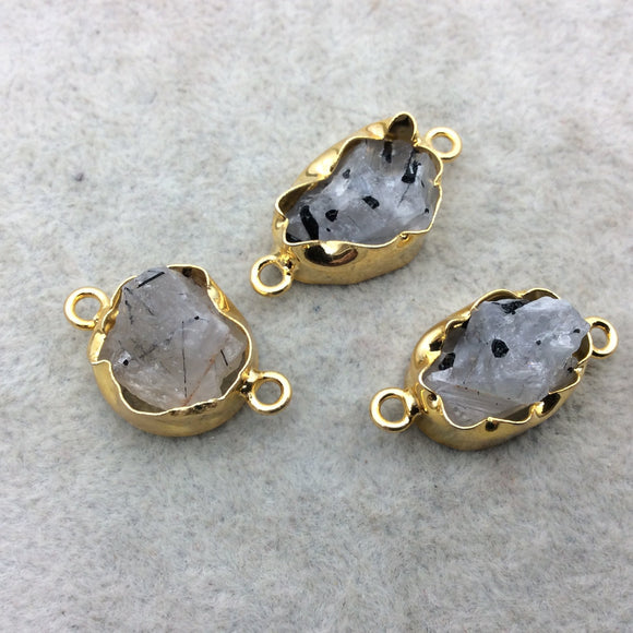 Gold Finish Medium Raw Nugget Genuine Rutilated Quartz Wavy Bezel Connector - ~ 13mm - 17mm Long - Sold Individually, Selected Randomly