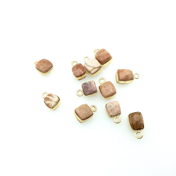 Gold Finish Faceted Rhodochrosite Cube/Square Shape Plated Copper Bezel Charm/Drop - Measures 7-8mm - Natural Gemstone - Sold Individually