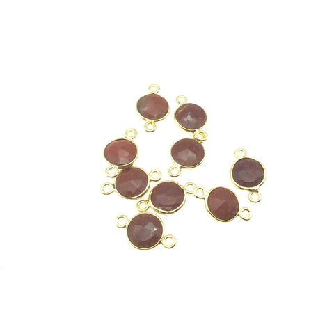 Gold Plated Faceted Natural Red Jasper Round/Coin Shaped Bezel Connector - Measuring 8mm x 8mm - Sold Individually, Chosen Randomly