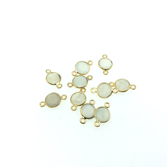 Gold Plated Natural Gray Moonstone  Faceted Round/Coin Shaped Copper Bezel Connector -  Measures 8mm x 8mm - Sold Individually, Random