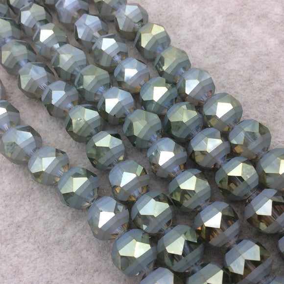 Chinese Crystal Beads | 12mm Matte Stripe Faceted Transparent AB Sage Green Glass Crystal Round Beads