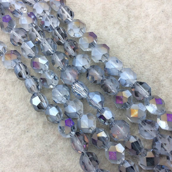 Chinese Crystal Beads | 12mm Matte And Glossy Faceted Transparent AB Clear Purple Orange Flattened Hexagon Glass Beads