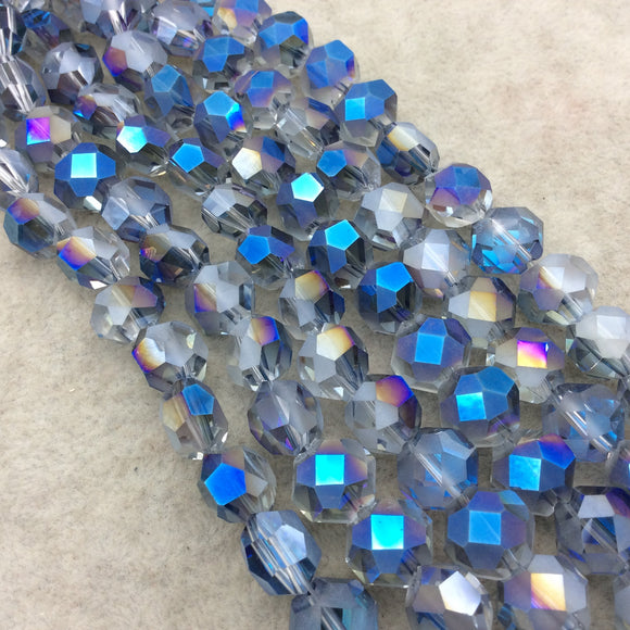 Chinese Crystal Beads | 12mm Matte And Glossy Faceted Transparent AB Clear Purple Blue Flattened Hexagon Glass Beads