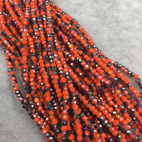 Chinese Crystal Beads | 2mm AB Metallic Finish Faceted Opaque Orange Black Rondelle Glass Beads
