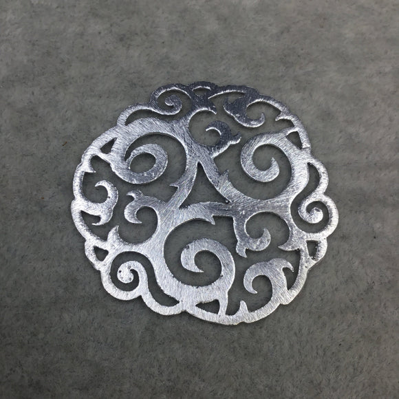 Medium Sized Silver Plated Tribal Swirl Cutout Shaped Brushed Finish Copper Components - Measuring 47mm x 47mm - Sold in Packs of 4