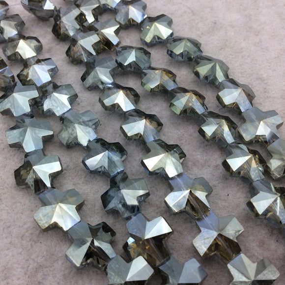 Chinese Crystal Beads | 13mm x 13mm Glossy Faceted Transparent Metallic Silver Gray Glass Cross Shaped Beads