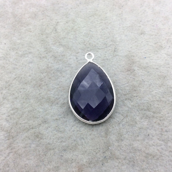 Sterling Silver Faceted Amethyst (Lab Created) Quartz Teardrop Shaped Bezel Pendant - Measuring 18mm x 25mm - Sold Individually