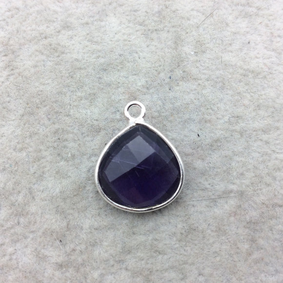 Sterling Silver Faceted Amethyst (Lab Created) Quartz Heart/Teardrop Shaped Bezel Pendant - Measuring 15mm x 15mm - Sold Individually