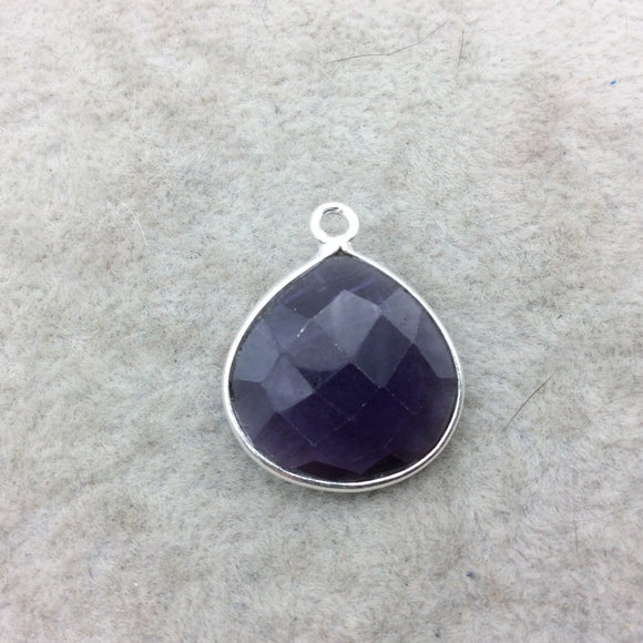 Sterling Silver Faceted Amethyst (Lab Created) Quartz Heart/Teardrop Shaped Bezel Pendant - Measuring 18mm x 18mm - Sold Individually