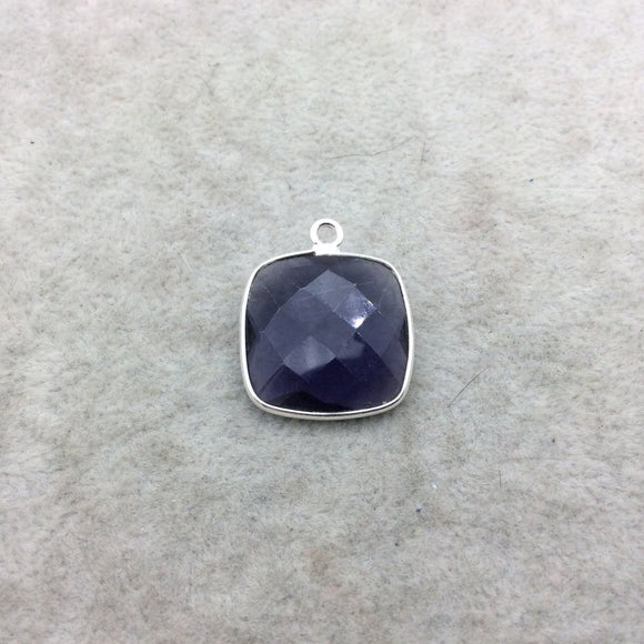 Sterling Silver Faceted Amethyst (Lab Created) Quartz Square Shaped Bezel Pendant - Measuring 18mm x 18mm - Sold Individually