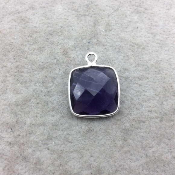 Sterling Silver Faceted Amethyst (Lab Created) Quartz Square Shaped Bezel Pendant - Measuring 15mm x 15mm - Sold Individually