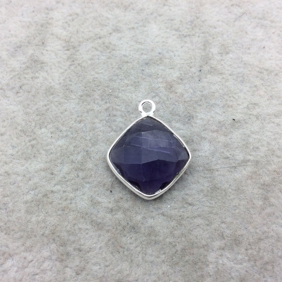 Sterling Silver Faceted Amethyst (Lab Created) Quartz Diamond Shaped Bezel Pendant - Measuring 15mm x 15mm - Sold Individually
