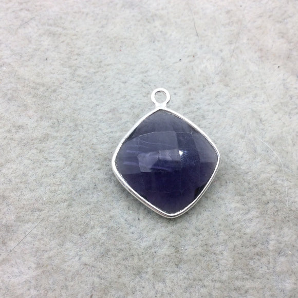 Sterling Silver Faceted Amethyst (Lab Created) Quartz Diamond Shaped Bezel Pendant - Measuring 18mm x 18mm - Sold Individually