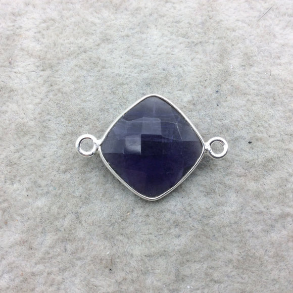 Sterling Silver Faceted Amethyst (Lab Created) Quartz Diamond Shaped Bezel Connector - Measuring 15mm x 15mm - Sold Individually