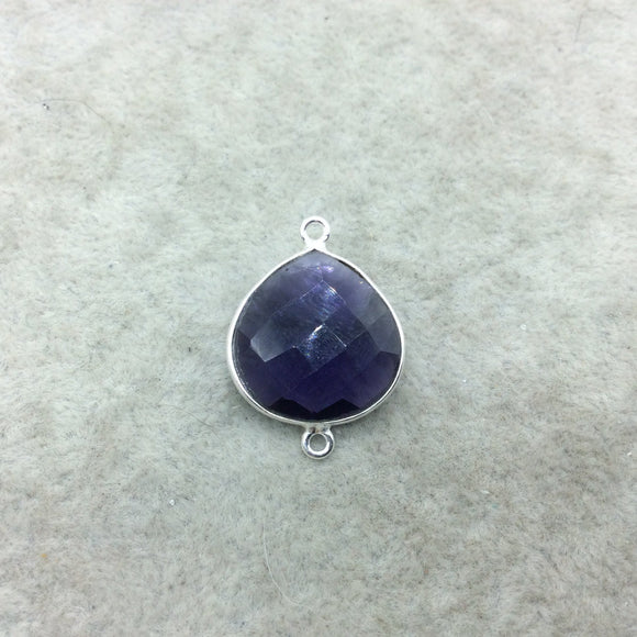 Sterling Silver Faceted Amethyst (Lab Created) Quartz Teardrop/Heart Shaped Bezel Connector - Measuring 15mm x 15mm - Sold Individually