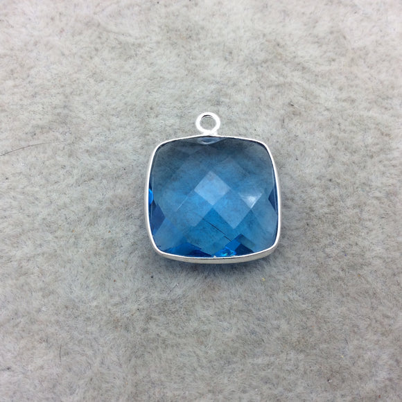 Sterling Silver Faceted Square Shape Ocean Blue Hydro (Lab Created) Quartz Bezel Pendant Component - ~ 18mm x 18mm - Natural Gemstone