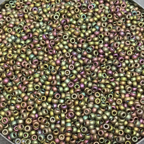 Size 11/0 Matte Finish Metallic Khaki Iris  Miyuki Glass Seed Beads - Sold by 23 Gram Tubes (~ 2500 Beads / Tube) - (11-92035)