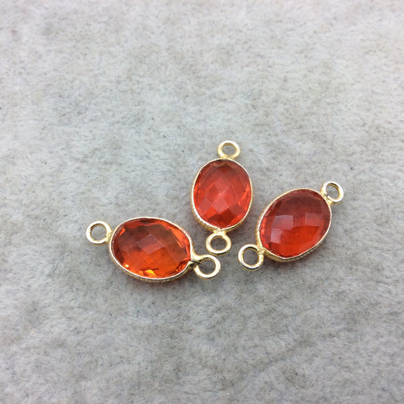 Gold Vermeil Faceted Orange Hydro (Lab Created) Quartz Oval Shaped Bezel Connector W Asst. Patterned Wire ~ 10mm x 14mm - Sold Individually