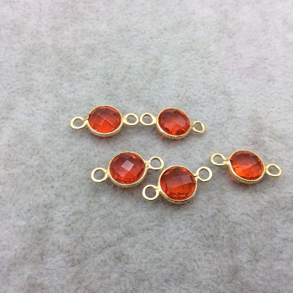 Gold Vermeil Faceted Orange Hydro (Lab Created) Quartz Round Shape Bezel Connector W Asst. Patterned Wire ~ 10mm x 10mm - Sold Per Each
