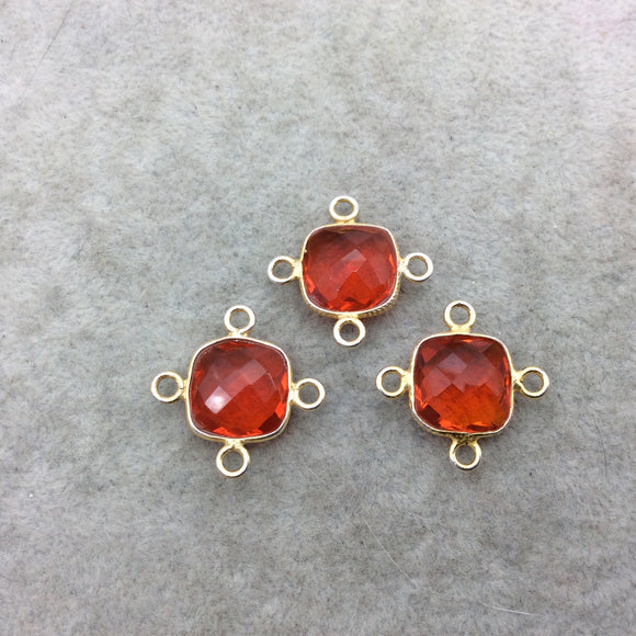 Jeweler's Lot Gold Vermeil Faceted Orange Hydro (Lab Made) Quartz Assorted 3 Bezel Pendants/Connectors ~ 15mm x 15mm - Sold As Shown