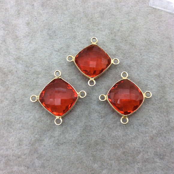Jeweler's Lot Gold Vermeil Faceted Orange Hydro (Lab Made) Quartz Assorted 3 Bezel Pendants/Connectors ~ 18mm x 18mm - Sold As Shown