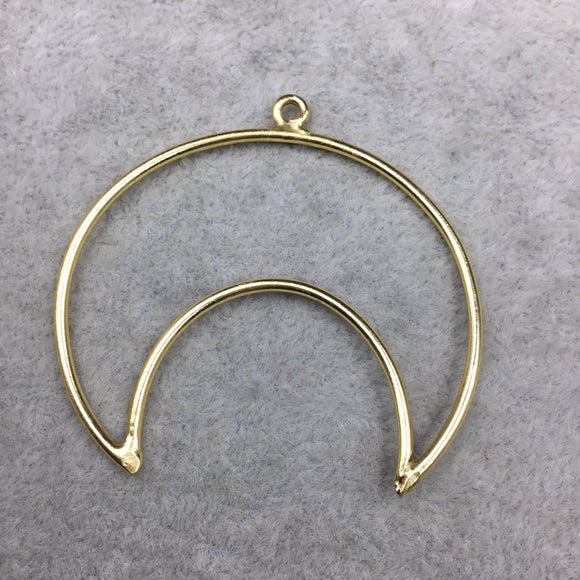 48mm x 43mm Gold Plated Copper Open Crescent Shaped Pendant Components (One Ring) - Sold in Bulk Packs of 10 (491-GD)