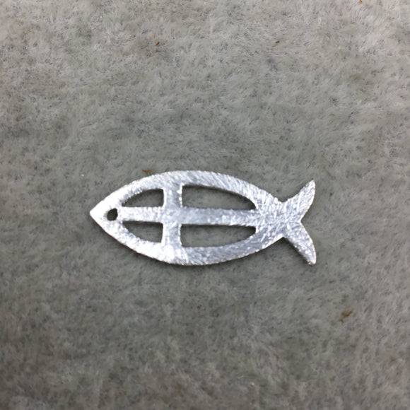 10mm x 25mm Fish Shape with Cross Cut out (Ichthys) Silver Brushed Finish Copper Components - Sold in Packs of 10 (496-SV)