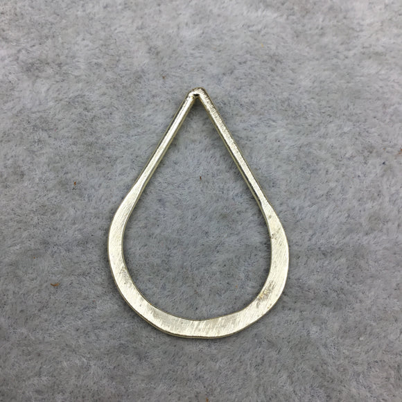 26mm x 40mm Gold Finish Open (Hammered Bottom) Teardrop Shaped Plated Copper Components - Sold in Packs of 10 Pieces - (118-GD)
