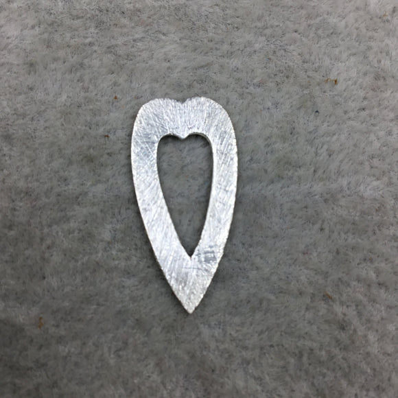 12mm x 25mm Small Silver Brushed Plated Copper Thick open Heart Shaped Un-drilled Components - Sold in Packs of 10 (498-SV)