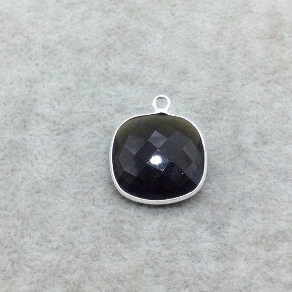 Sterling Silver Faceted Dark Olive (Lab Created) Quartz Square Shaped Bezel Pendant - Measuring 18mm x 18mm - Sold Individually