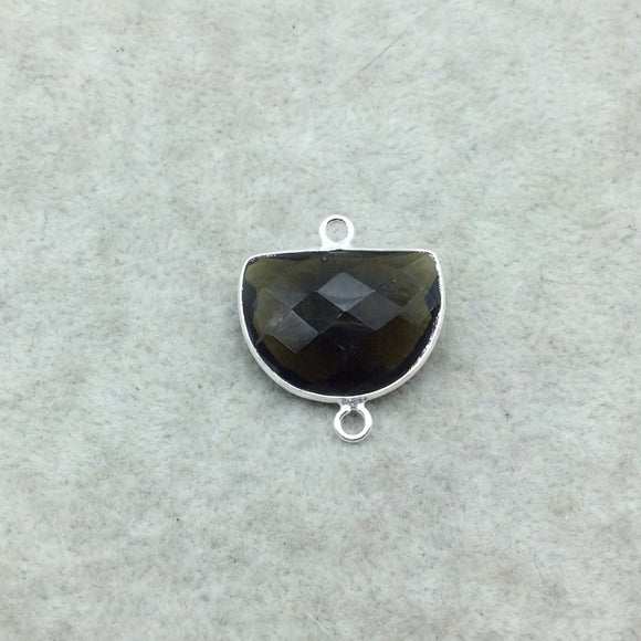 Sterling Silver Faceted Dark Olive (Lab Created) Quartz Half Moon Shaped Bezel 2 Ring Connector - Measuring 16mm x 20mm - Sold Individually