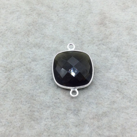 Sterling Silver Faceted Dark Olive (Lab Created) Quartz Square Shaped Bezel Connector - Measuring 18mm x 18mm - Sold Individually