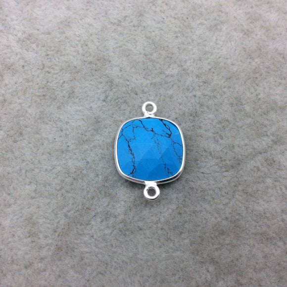 Sterling Silver Faceted Flat Back Dyed Veined Blue Howlite Square Shaped Bezel Connector - Measuring 15mm x 15mm - Sold Individually