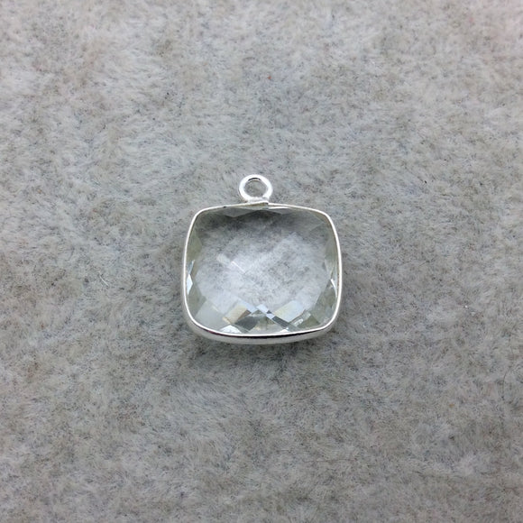 Sterling Silver Faceted Clear (Lab Created) Quartz Square Shaped Bezel Pendant - Measuring 15mm x 15mm - Sold Individually