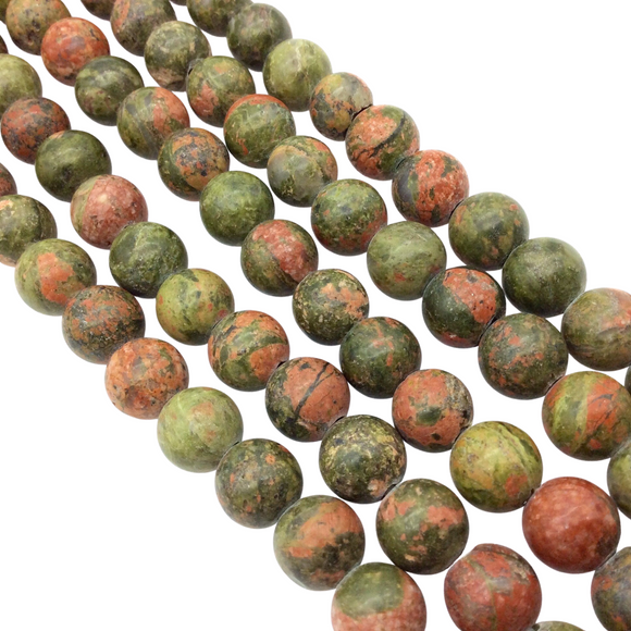 10mm Natural Picasso Jasper Semi-Gloss Finish Round/Ball Shaped Beads with 2mm Holes - 7.75