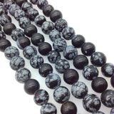 "10mm Natural Snowflake Obsidian Smooth Finish Round/Ball Shaped Beads with 2.5mm Holes - 7.75"" Strand (Approx. 20 Beads) - LARGE HOLE BEADS"