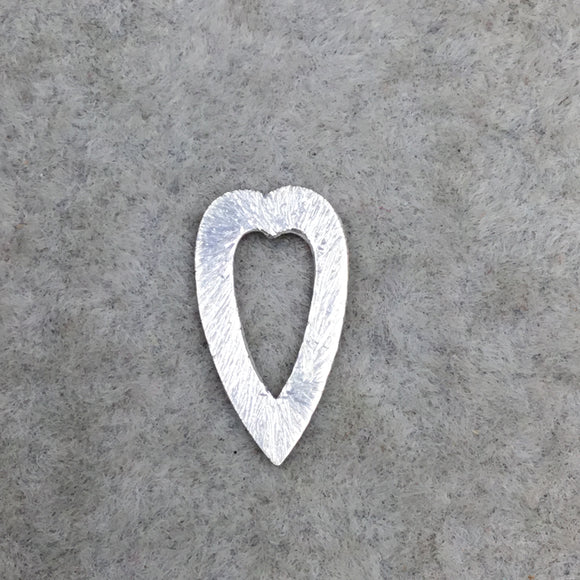 Silver Brushed Small Heart/Arrowhead Pendant/Charm Plated Copper Components - Measuring 9mm x 17mm - Sold in Packs of 10 -  (229-SV)