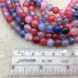 "8mm Faceted Mixed Purple/Pink/Blue Agate Round/Ball Shaped Beads - 15"" Strand (Approximately 48 Beads) - Natural Semi-Precious Gemstone"