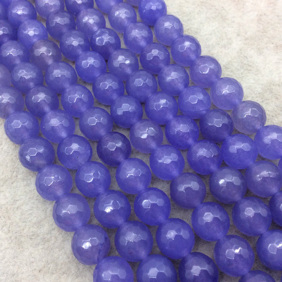 10mm Faceted Mixed Purple Agate Round/Ball Shaped Beads - 15