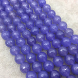 "10mm Faceted Mixed Purple Agate Round/Ball Shaped Beads - 15"" Strand (Approximately 38 Beads) - Natural Semi-Precious Gemstone"
