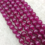 "10mm Faceted Berry Pink/Purple Agate Round/Ball Shaped Beads - 15"" Strand (Approximately 38 Beads) - Natural Semi-Precious Gemstone"