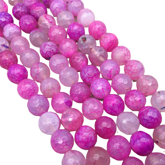 10mm Faceted Mixed Bright Pink Agate Round/Ball Shaped Beads - 15