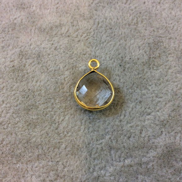 Gold Finish Faceted Heart/Teardrop Shaped Clear Quartz Bezel Pendant Component - Measuring 12mm x 12mm - Natural Semi-precious Gemstone