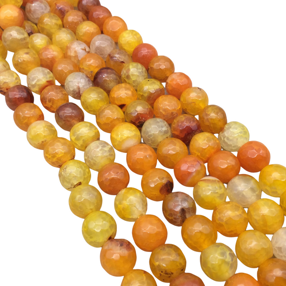10mm Faceted Mixed Yellow/Orange Agate Round/Ball Shaped Beads - 14.75