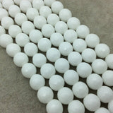 "10mm Faceted Opaque White Agate Round/Ball Shaped Beads - 15"" Strand (Approximately 38 Beads) - Natural Semi-Precious Gemstone"