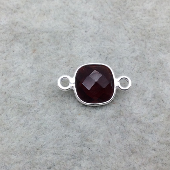 Sterling Silver Faceted Deepest Red (Lab Created) Quartz Square Shaped Bezel Connector - Measuring 10mm x 10mm - Sold Individually