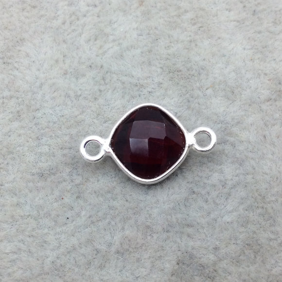Sterling Silver Faceted Deepest Red (Lab Created) Quartz Diamond Shaped Bezel Connector - Measuring 10mm x 10mm - Sold Individually